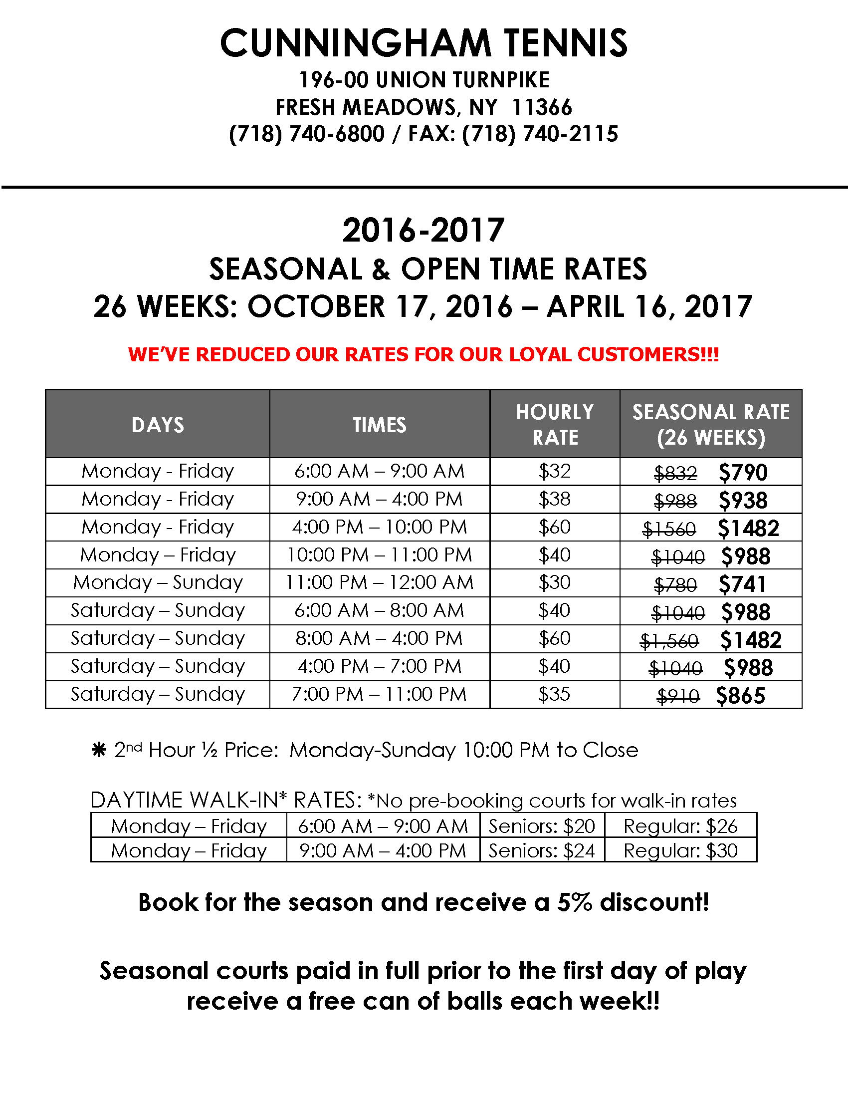 CT 2016-2017 Seasonal-Open Time Rates