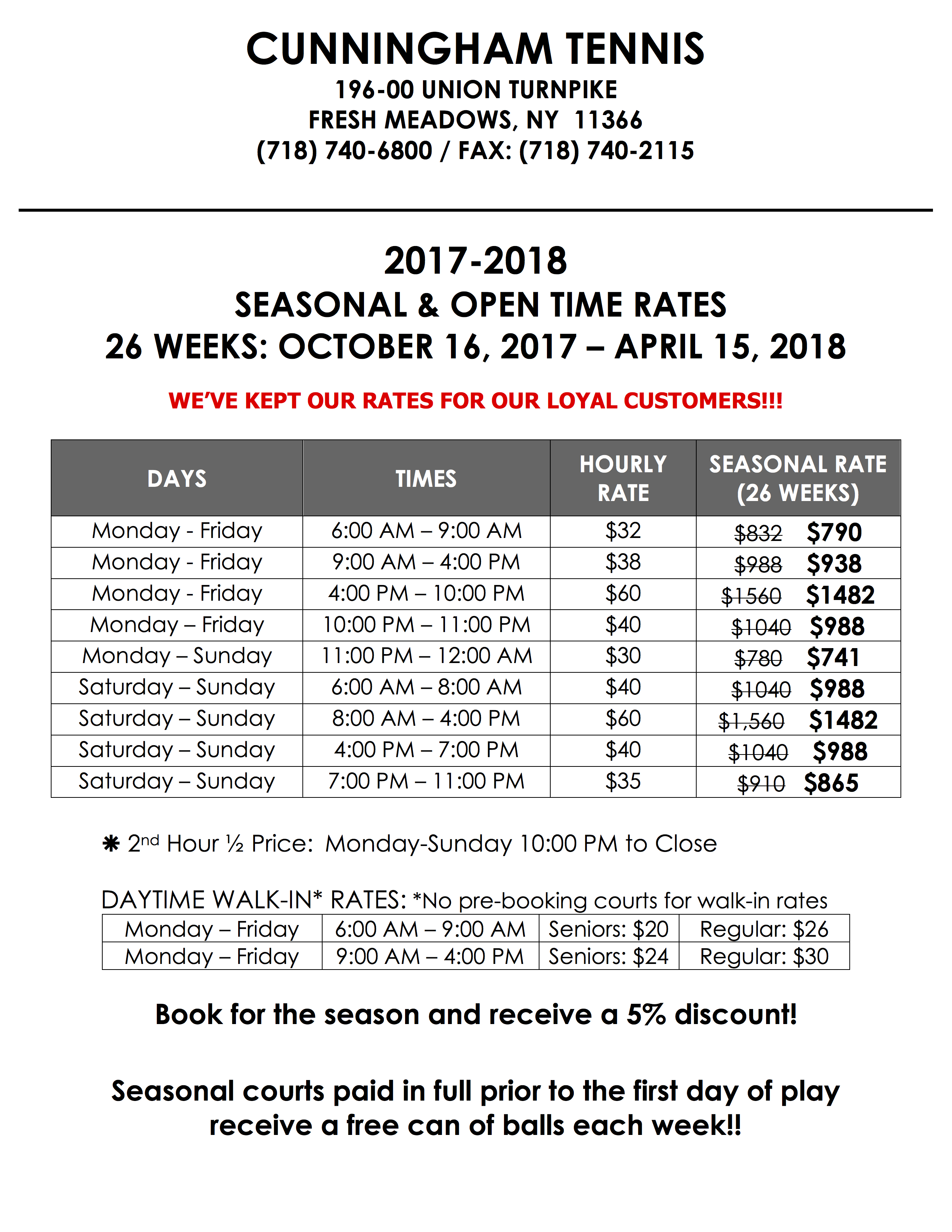 Open Time Rates - 2017-18